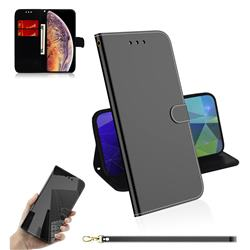 Shining Mirror Like Surface Leather Wallet Case for iPhone XS Max (6.5 inch) - Black