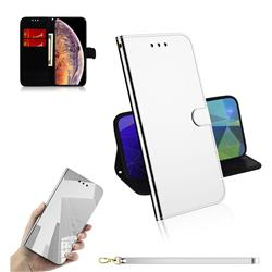 Shining Mirror Like Surface Leather Wallet Case for iPhone XS Max (6.5 inch) - Silver