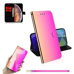 Shining Mirror Like Surface Leather Wallet Case for iPhone XS Max (6.5 inch) - Rainbow Gradient