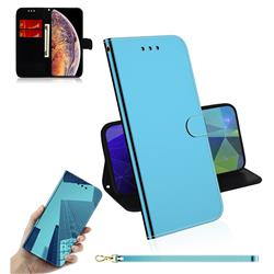 Shining Mirror Like Surface Leather Wallet Case for iPhone XS Max (6.5 inch) - Blue