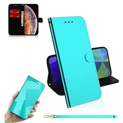 Shining Mirror Like Surface Leather Wallet Case for iPhone XS Max (6.5 inch) - Mint Green