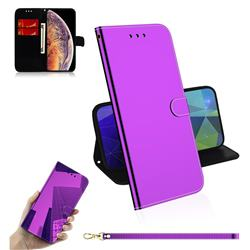 Shining Mirror Like Surface Leather Wallet Case for iPhone XS Max (6.5 inch) - Purple