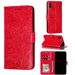 Intricate Embossing Lace Jasmine Flower Leather Wallet Case for iPhone XS Max (6.5 inch) - Red