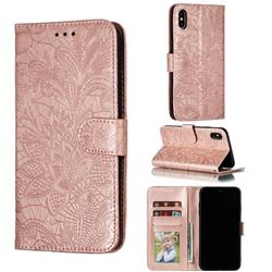 Intricate Embossing Lace Jasmine Flower Leather Wallet Case for iPhone XS Max (6.5 inch) - Rose Gold