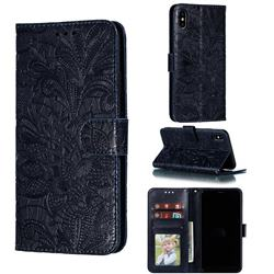 Intricate Embossing Lace Jasmine Flower Leather Wallet Case for iPhone XS Max (6.5 inch) - Dark Blue