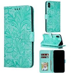 Intricate Embossing Lace Jasmine Flower Leather Wallet Case for iPhone XS Max (6.5 inch) - Green