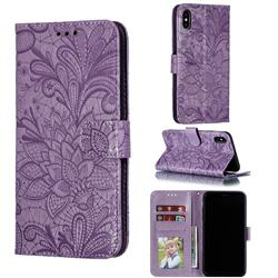 Intricate Embossing Lace Jasmine Flower Leather Wallet Case for iPhone XS Max (6.5 inch) - Purple
