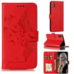 Intricate Embossing Lychee Feather Bird Leather Wallet Case for iPhone XS Max (6.5 inch) - Red