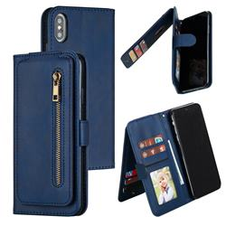 Multifunction 9 Cards Leather Zipper Wallet Phone Case for iPhone XS Max (6.5 inch) - Blue