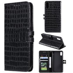 Luxury Crocodile Magnetic Leather Wallet Phone Case for iPhone XS Max (6.5 inch) - Black