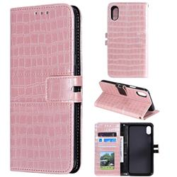 Luxury Crocodile Magnetic Leather Wallet Phone Case for iPhone XS Max (6.5 inch) - Rose Gold
