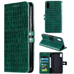 Luxury Crocodile Magnetic Leather Wallet Phone Case for iPhone XS Max (6.5 inch) - Green
