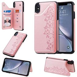Yikatu Luxury Cute Cats Multifunction Magnetic Card Slots Stand Leather Back Cover for iPhone XS Max (6.5 inch) - Rose Gold