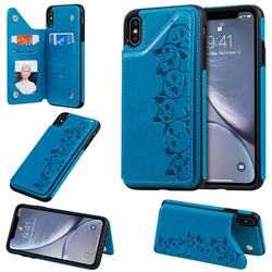 Yikatu Luxury Cute Cats Multifunction Magnetic Card Slots Stand Leather Back Cover for iPhone XS Max (6.5 inch) - Blue