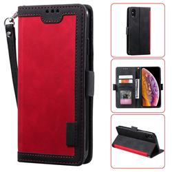 Luxury Retro Stitching Leather Wallet Phone Case for iPhone XS Max (6.5 inch) - Deep Red