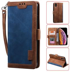 Luxury Retro Stitching Leather Wallet Phone Case for iPhone XS Max (6.5 inch) - Dark Blue
