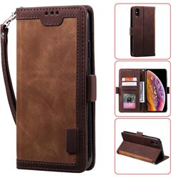 Luxury Retro Stitching Leather Wallet Phone Case for iPhone XS Max (6.5 inch) - Dark Brown