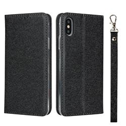 Ultra Slim Magnetic Automatic Suction Silk Lanyard Leather Flip Cover for iPhone XS Max (6.5 inch) - Black