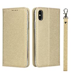 Ultra Slim Magnetic Automatic Suction Silk Lanyard Leather Flip Cover for iPhone XS Max (6.5 inch) - Golden