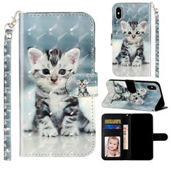 Kitten Cat 3D Leather Phone Holster Wallet Case for iPhone XS Max (6.5 inch)