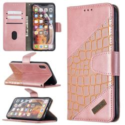 BinfenColor BF04 Color Block Stitching Crocodile Leather Case Cover for iPhone XS Max (6.5 inch) - Rose Gold