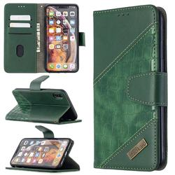 BinfenColor BF04 Color Block Stitching Crocodile Leather Case Cover for iPhone XS Max (6.5 inch) - Green