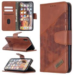 BinfenColor BF04 Color Block Stitching Crocodile Leather Case Cover for iPhone XS Max (6.5 inch) - Brown