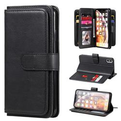 Multi-function Ten Card Slots and Photo Frame PU Leather Wallet Phone Case Cover for iPhone XS Max (6.5 inch) - Black