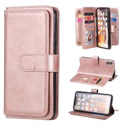 Multi-function Ten Card Slots and Photo Frame PU Leather Wallet Phone Case Cover for iPhone XS Max (6.5 inch) - Rose Gold