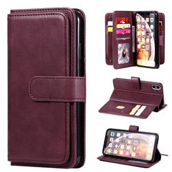 Multi-function Ten Card Slots and Photo Frame PU Leather Wallet Phone Case Cover for iPhone XS Max (6.5 inch) - Claret