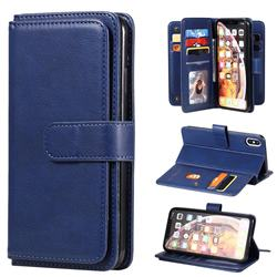 Multi-function Ten Card Slots and Photo Frame PU Leather Wallet Phone Case Cover for iPhone XS Max (6.5 inch) - Dark Blue