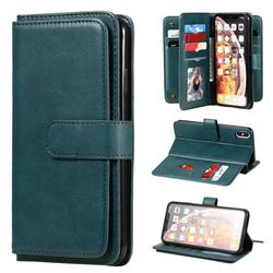 Multi-function Ten Card Slots and Photo Frame PU Leather Wallet Phone Case Cover for iPhone XS Max (6.5 inch) - Dark Green