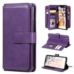 Multi-function Ten Card Slots and Photo Frame PU Leather Wallet Phone Case Cover for iPhone XS Max (6.5 inch) - Violet