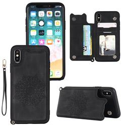 Luxury Mandala Multi-function Magnetic Card Slots Stand Leather Back Cover for iPhone XS Max (6.5 inch) - Black