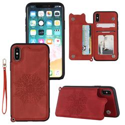 Luxury Mandala Multi-function Magnetic Card Slots Stand Leather Back Cover for iPhone XS Max (6.5 inch) - Red