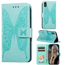 Intricate Embossing Vivid Butterfly Leather Wallet Case for iPhone XS Max (6.5 inch) - Green