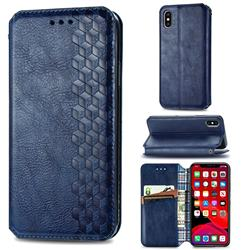 Ultra Slim Fashion Business Card Magnetic Automatic Suction Leather Flip Cover for iPhone XS Max (6.5 inch) - Dark Blue