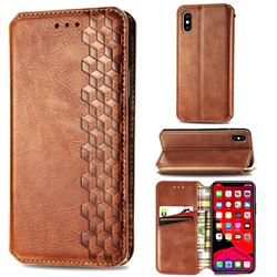 Ultra Slim Fashion Business Card Magnetic Automatic Suction Leather Flip Cover for iPhone XS Max (6.5 inch) - Brown