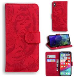 Intricate Embossing Tiger Face Leather Wallet Case for iPhone XS Max (6.5 inch) - Red
