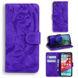 Intricate Embossing Tiger Face Leather Wallet Case for iPhone XS Max (6.5 inch) - Purple