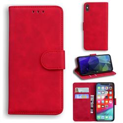 Retro Classic Skin Feel Leather Wallet Phone Case for iPhone XS Max (6.5 inch) - Red