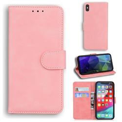 Retro Classic Skin Feel Leather Wallet Phone Case for iPhone XS Max (6.5 inch) - Pink