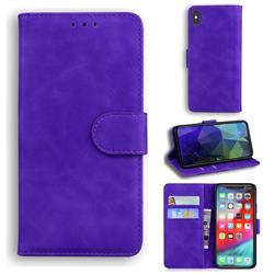 Retro Classic Skin Feel Leather Wallet Phone Case for iPhone XS Max (6.5 inch) - Purple