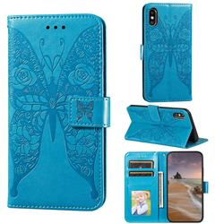 Intricate Embossing Rose Flower Butterfly Leather Wallet Case for iPhone XS Max (6.5 inch) - Blue