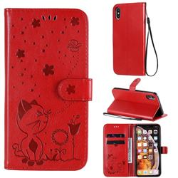 Embossing Bee and Cat Leather Wallet Case for iPhone XS Max (6.5 inch) - Red