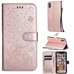 Embossing Bee and Cat Leather Wallet Case for iPhone XS Max (6.5 inch) - Rose Gold