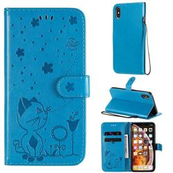 Embossing Bee and Cat Leather Wallet Case for iPhone XS Max (6.5 inch) - Blue