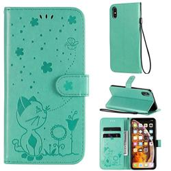 Embossing Bee and Cat Leather Wallet Case for iPhone XS Max (6.5 inch) - Green