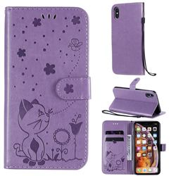 Embossing Bee and Cat Leather Wallet Case for iPhone XS Max (6.5 inch) - Purple