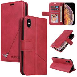 GQ.UTROBE Right Angle Silver Pendant Leather Wallet Phone Case for iPhone XS Max (6.5 inch) - Red